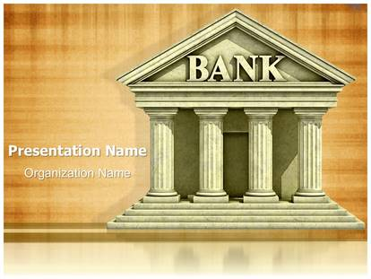 bank building concept powerpoint template background, Powerpoint templates
