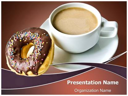 coffee with donut powerpoint template background, Presentation templates