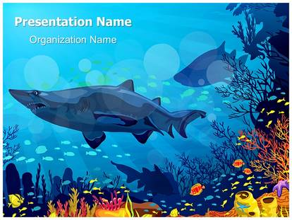coral reef with sharks powerpoint template background, Modern powerpoint