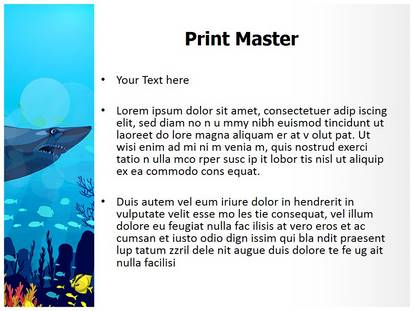 Coral Reef With Sharks PowerPoint Template Background ...