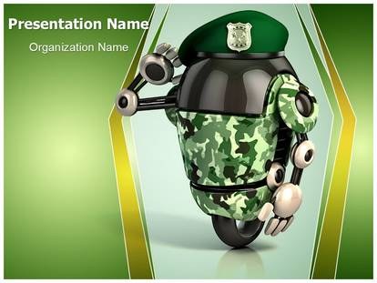 future robot army powerpoint template background, Modern powerpoint