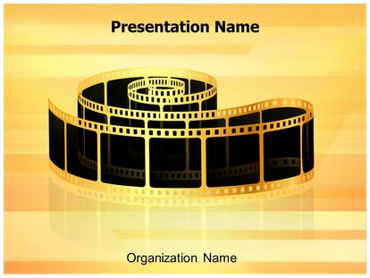 Golden film strip powerpoint template background 1g pronofoot35fo Image collections