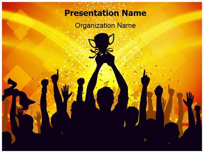 Group Trophy PowerPoint Template Background