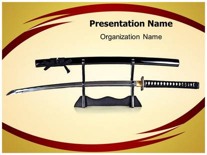 japanese samurai sword powerpoint template background, Powerpoint templates