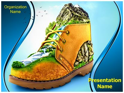 Mountaineering Shoes PowerPoint Template Background