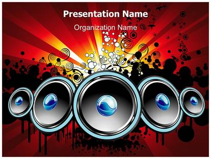 music party speakers powerpoint template background, Modern powerpoint