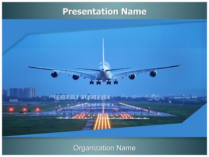 plane runway powerpoint template background, Modern powerpoint