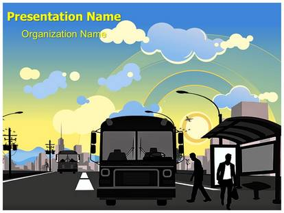 Public transportation bus station powerpoint template background 1g toneelgroepblik Choice Image