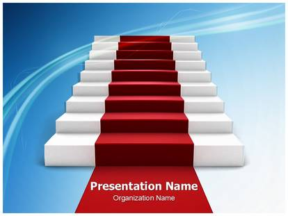 staircase with red carpet powerpoint template background