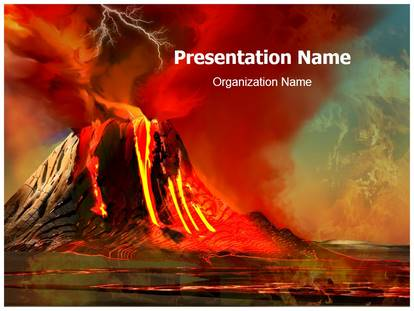 volcano powerpoint template background  subscriptiontemplates, Powerpoint