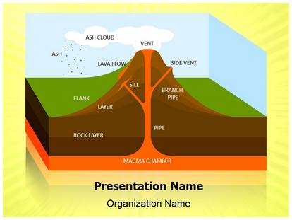 volcano science powerpoint template background, Modern powerpoint