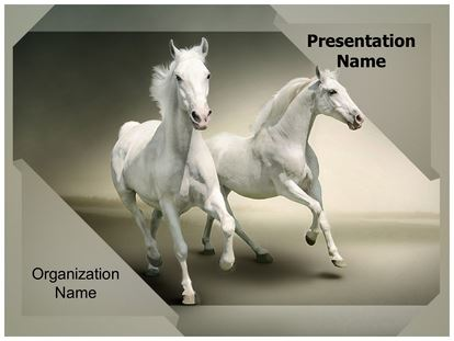 White Horses Powerpoint Template Background Subscriptiontemplates